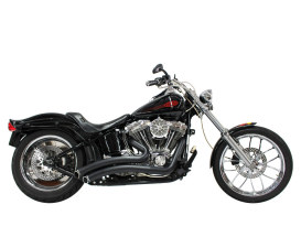 Sharp Curve Radius Exhaust - Black with Black End Caps. Fits Softail 1986-2017.