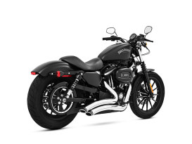 Sharp Curve Radius Exhaust - Chrome with Black End Caps. Fits Sportster 2004up.