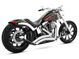 Sharp Curve Radius Exhaust with Chrome Finish & Chrome End Caps. Fits Softail Breakout 2013-2017 & Rocker 2008-2011 Models.