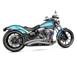 Sharp Curve Radius Exhaust with Chrome Finish & Black End Caps. Fits Softail Breakout 2013-2017 & Rocker 2008-2011 Models.