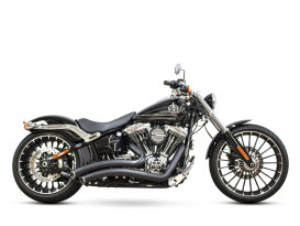 Sharp Curve Radius Exhaust with Black Finish & Black End Caps. Fits Softail Breakout 2013-2017 & Rocker 2008-2011 Models.