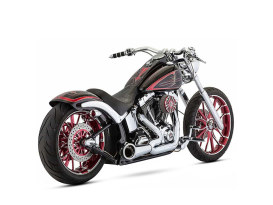 2-into-1 Turnout Exhaust with Chrome Finish & Black End Cap. Fits Softail Breakout 2013-2017 & Rocker 2008-2011 Models.