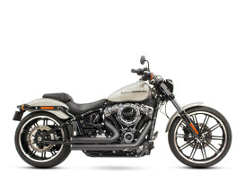 Independence Shorty Exhaust with Black Finish & Black End Caps. Fits Softail 2018up.