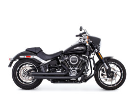 Independence Staggered Slash Exhaust - Black with Black End Caps. Fits Softail 2018up.