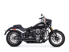 Independence Staggered Exhaust with Black Finish & Chrome End Caps. Fits Softail 2018up.