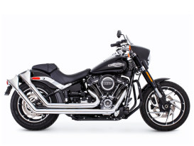 Upsweeps Exhaust - Chrome with Chrome Sharktail End Caps. Fits Softail 2018up.