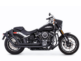 Upsweeps Exhaust - Black with Black Sharktail End Caps. Fits Softail 2018up.
