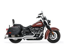 True Dual Exhaust - Chrome with Chrome Sharktail End Caps. Fits Softail 2018up.