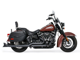 True Dual Exhaust - Black with Black Sharktail End Caps. Fits Softail 2018up.