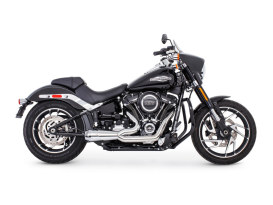 American Outlaw Shorty 2-into-1 Exhaust - Chrome with Chrome End Cap. Fits Softail 2018up.