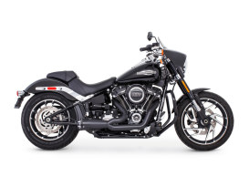 American Outlaw Shorty 2-into-1 Exhaust - Black with Black End Cap. Fits Softail 2018up.