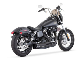 American Outlaw Shorty 2-into-1 Exhaust - Black with Black End Cap. Fits Dyna 2006-2017.