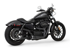 American Outlaw Shorty 2-into-1 Exhaust - Black with Black End Cap. Fits Sportster 2004up.