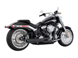 2-into-1 Two Step Exhaust - Black with Black End Cap. Fits Softail 2018up.