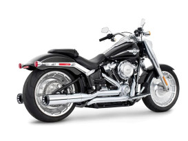 4.5in. Two-Step Trual Dual Exhaust - Chrome with Contrast Cut Black End Caps. Fits Softail Breakout & Fatboy 2018up with 240 Tyre.
