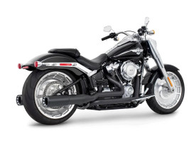 4.5in. Two-Step Trual Dual Exhaust - Black with Contrast Cut Black End Caps. Fits Softail Breakout & Fatboy 2018up with 240 Tyre.