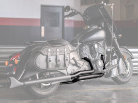 True Dual Exhaust - Black with Black Sharktail End Caps. Fits Indian Vintage Chief Classic & Vintage Chief Dark Horse.