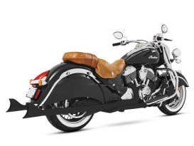 True Dual Exhaust - Black with Black Sharktail End Caps. Fits Indian Chieftain 2014up & Roadmaster 2014up.
