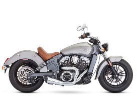 Combat 2-into-1 Exhaust - Chrome with Black End Cap. Fits Indian Scout 2015up.
