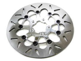 11.5in. Front Round Floating Disc Rotor with Polished Carrier. Fits Big Twin & Sportster 2000-2014.