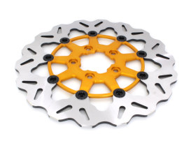 11.5in. Front Wave Floating Disc Rotor with Gold Carrier. Fits Big Twin & Sportster 2000-2014.