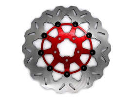 11.5in. Front Wave Floating Disc Rotor with Red Carrier. Fits Big Twin & Sportster 2000-2014.