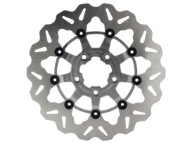 11.5in. Front Wave Floating Disc Rotor with Clear Anodized Silver Carrier. Fits Big Twin & Sportster 2000-2014.