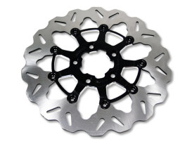11.5in. Rear Floating Wave Disc Rotor with Black Carrier. Fits Big Twin & Sportster 2000up.