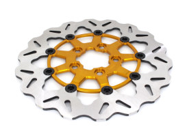 11.5in. Rear Floating Wave Disc Rotor with Gold Carrier. Fits Big Twin & Sportster 2000up.