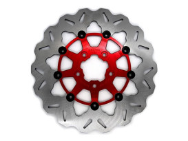 11.5in. Rear Floating Wave Disc Rotor with Red Carrier. Fits Big Twin & Sportster 2000up.