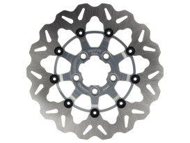 11.5in. Rear Floating Wave Disc Rotor with Clear Anodized Silver Carrier. Fits Big Twin 2000up & Sportster 2000-2010.