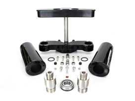 4 Degree Raked Triple Tree Kit - Chrome. Fits FL Softail 1986-2017 with Stock Diameter Wheel For Trike Conversion