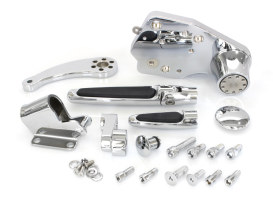 Standard Length Forward Controls with Folding Rubber Inlay Pegs - Chrome. Fits Touring 2009-2013.