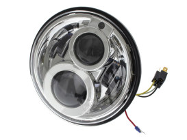 7in. LED HeadLight Insert with Parker - Chrome. Fts H-D, Indian Chief Classic & Dark Horse Models with 7in. Headlight.
