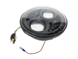 7in. LED HeadLight Insert with Halo - Black. Fts H-D, Indian Chief Classic & Dark Horse Models with 7in. Headlight.