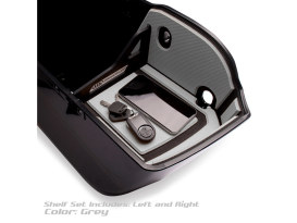 Ryt-There Saddle Bag Shelf - Grey. Fits Indian with Flat Saddlebag Lids 2014up Left & Right Bags.