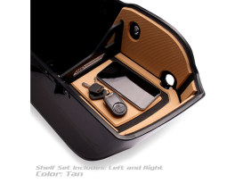 Ryt-There Saddle Bag Shelf - Tan. Fits Indian with Flat Saddlebag Lids 2014up Left & Right Bags.