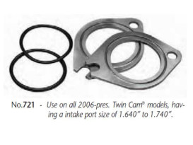 Manifold Spacer Kit; Big Twin'06upw/Intake port size of 1.640-1.740