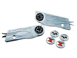 Flamed Saddlebag Latches Covers - Chrome. Fits Touring 1993up.