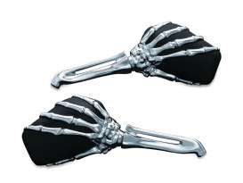 Skeleton Hand Mirrors, Stems - Chrome & Mirror Heads - Black.