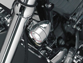 39mm or 41mm Fork Mounting Silver Bullet Turn Signals.