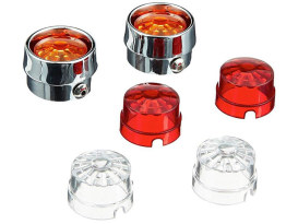 Mini Bullet Turn Signal Bezels with Amber, Red & Clear Len's.