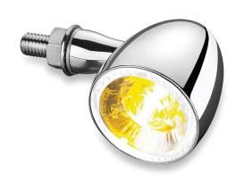 Kellermann 1000 Bullet Turn Signal with Amber Turn Signal & White Halo Runnig Light - Chrome.
