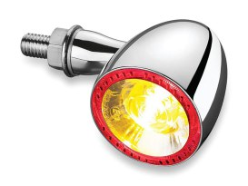 Kellermann 1000 Bullet Turn Signal with Amber Turn Signal & Red Halo Runnig Light - Chrome.
