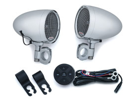 Road Thunder Speaker Pods & Bluetooth Audio Controller by MTX with Chrome Finish.