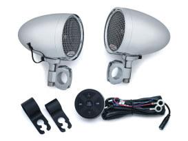 Chrome Kuryakyn Road Thunder Speaker Pods & Bluetooth Audio Controller by MTX