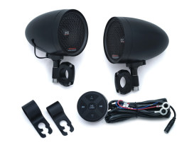Black Kuryakyn Road Thunder Speaker Pods & Bluetooth Audio Controller by MTX
