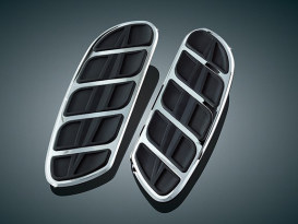 Front Kinetic Floorboard Inserts - Chrome. Fits H-D Swept Wing Floorboards.