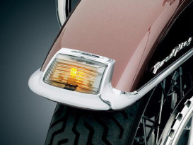 Front Fender Tip Lens Kit with Smoked Lens & Amber LED Bulb. Fits Touring 1986-2013 & FL Softail 1986-2017.