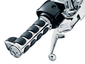 ISO Handgrips with Throttle Boss - Chrome. Fits H-D 2008up with Throttle-by-Wire.